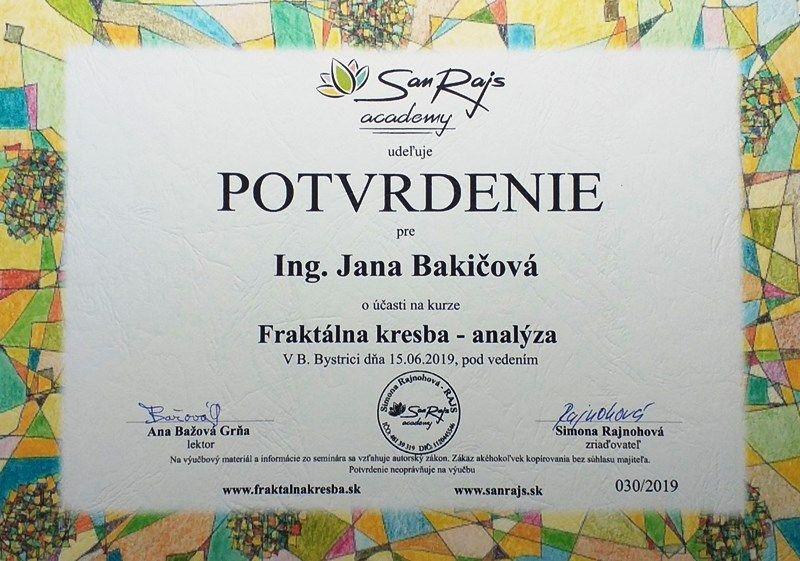 certifikat fraktalna kresba Jana Bakicova